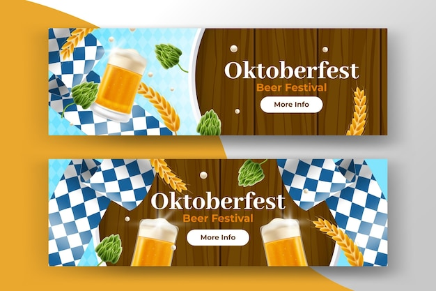 Realistic oktoberfest banners collection