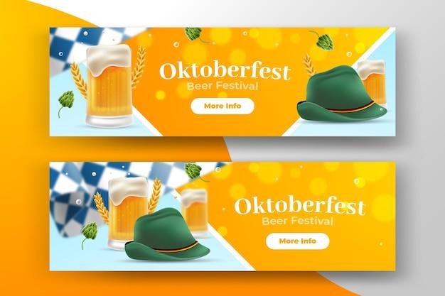 Realistic oktoberfest banners pack