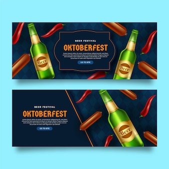 Realistic oktoberfest banners pack