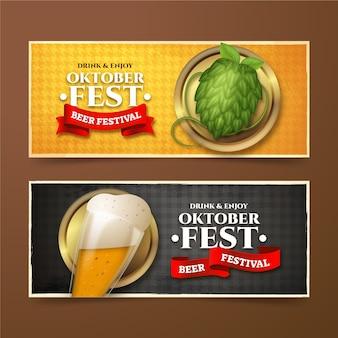 Realistic oktoberfest banners set