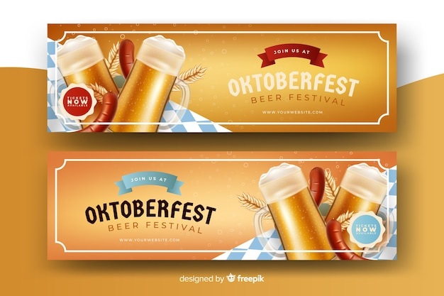 Realistic oktoberfest banners template