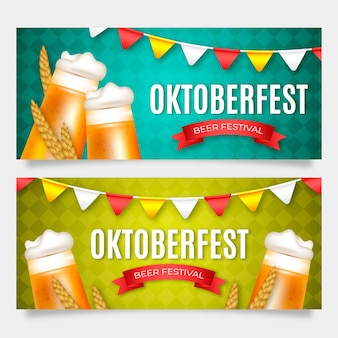 Realistic oktoberfest banners with beer