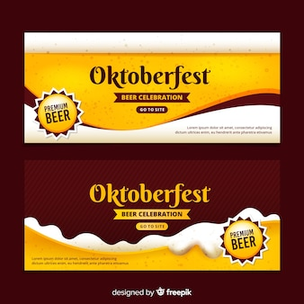 Realistic oktoberfest banners