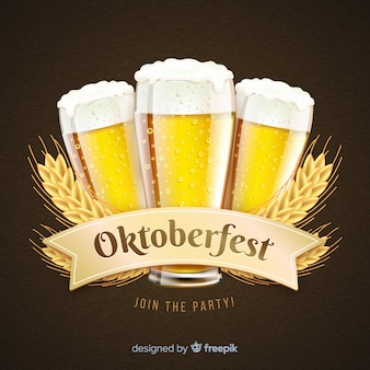 Realistic oktoberfest concept with beer