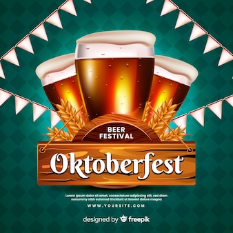 Realistic oktoberfest concept with beers