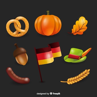 Realistic oktoberfest element collection
