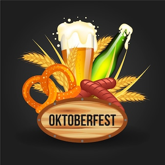 Realistic oktoberfest elements illustration