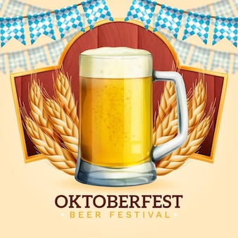 Realistic oktoberfest event beer