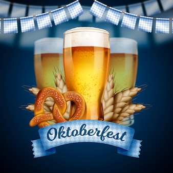 Realistic oktoberfest event beers