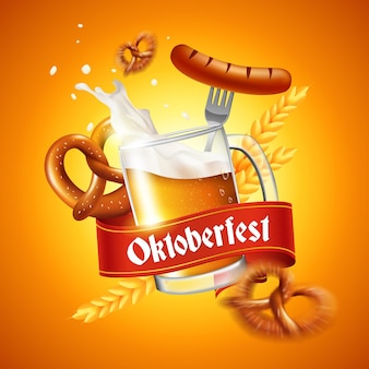 Realistic oktoberfest event food and beer