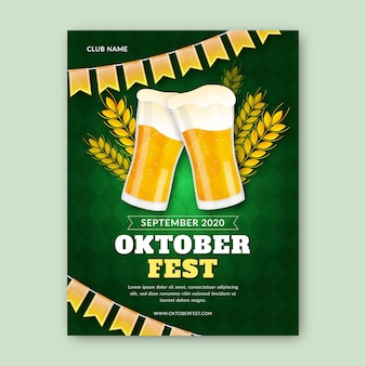 Realistic oktoberfest event poster template