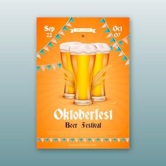 Realistic oktoberfest festival poster