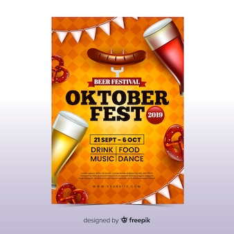 Realistic oktoberfest flyer template