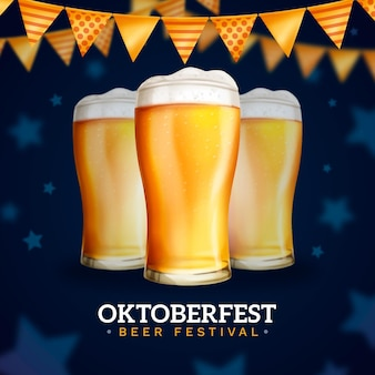 Realistic oktoberfest glasses with beer