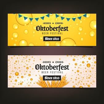 Realistic oktoberfest horizontal banners set