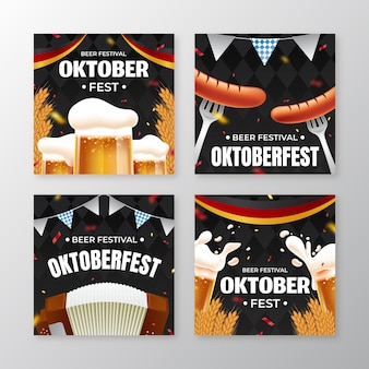 Realistic oktoberfest instagram posts collection