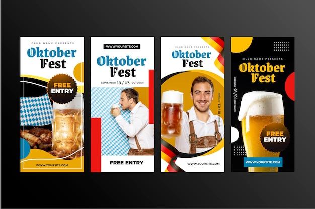 Realistic oktoberfest instagram stories collection