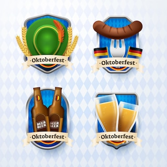 Realistic oktoberfest labels collection