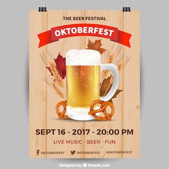 Realistic oktoberfest party poster
