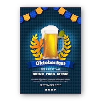 Realistic oktoberfest poster template