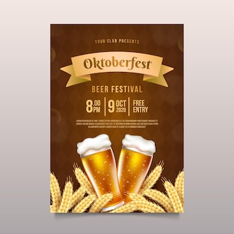 Realistic oktoberfest poster with beer