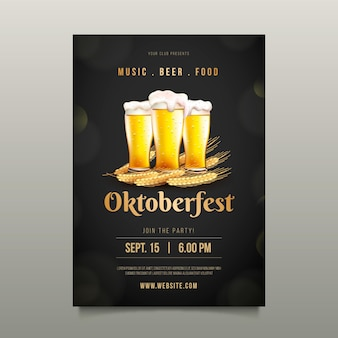 Realistic oktoberfest poster with pints of beer
