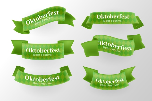 Realistic oktoberfest ribbons collection