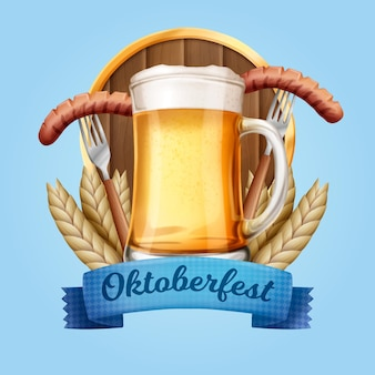 Realistic oktoberfest traditional beer and food