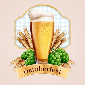 Realistic oktoberfest traditional beer