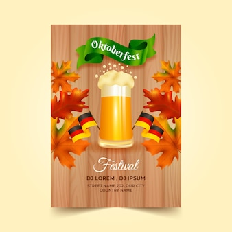 Realistic oktoberfest vertical flyer template