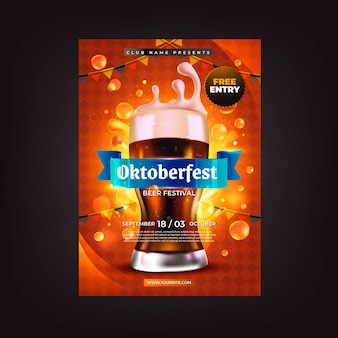 Modello realistico di volantino verticale dell'oktoberfest