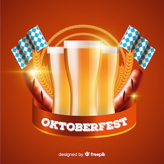 Realistic oktoberfest with beer background