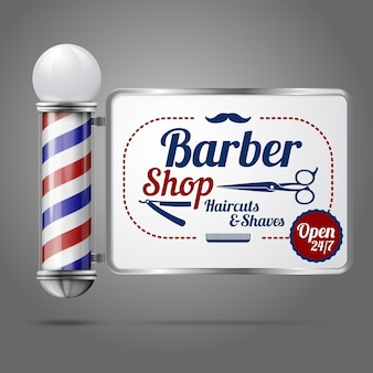 Realistic old fashioned vintage silver and glass barber shop pole with barber sign.