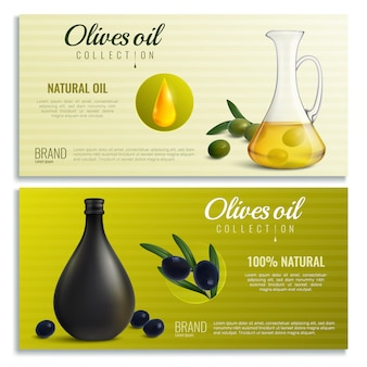 Realistic olives oil banners