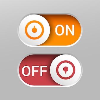둥근 슬라이더가있는 현실적인 켜기 및 끄기 스위치 버튼.