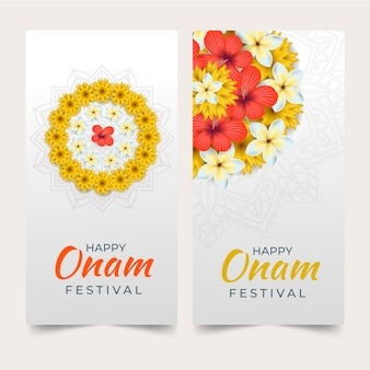 Realistic onam banners concept