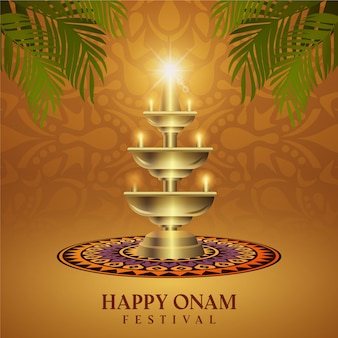 Realistic onam illustration concept
