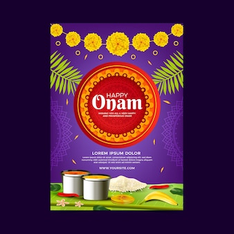 Realistic onam poster concept