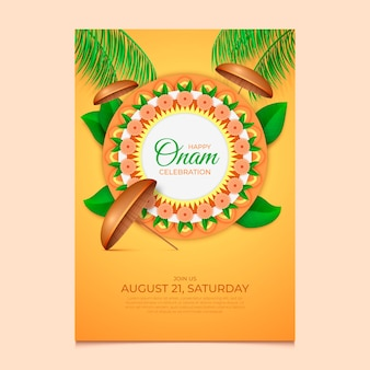 Realistic onam vertical poster template