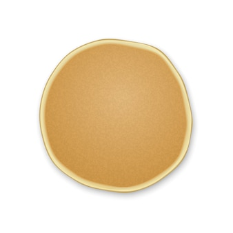 Realistic one plain pancakes on a white background.top view