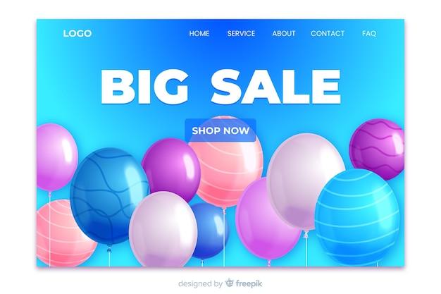 Realistic online shop landing page