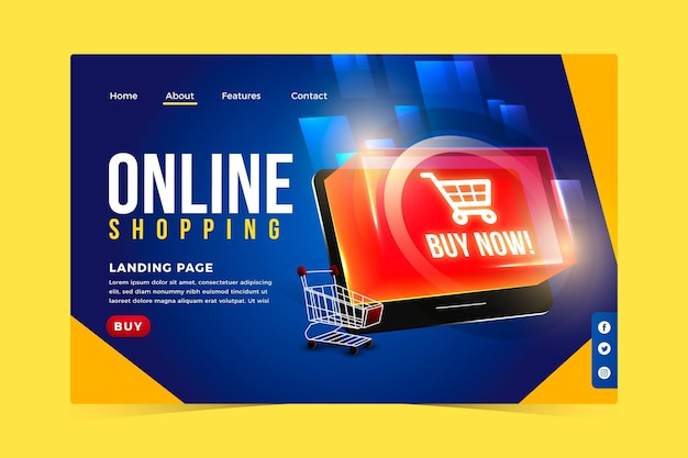 Realistic online shopping landing page