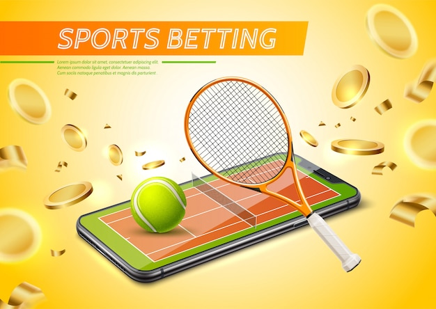 Realistic online sports betting promo poster with tennis court in smartphone screen with golden coins