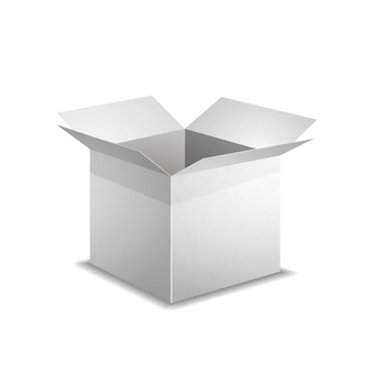 Realistic open blank box with shadow isolated