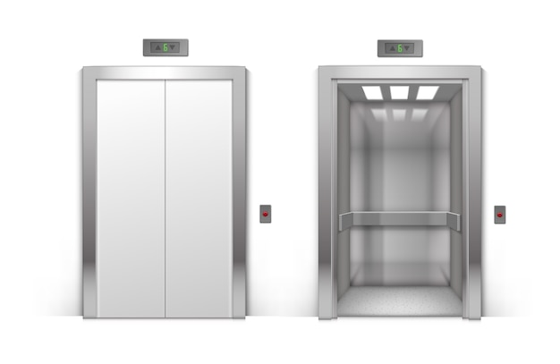 Realistic open and closed chrome metal office building elevator doors isolated on background