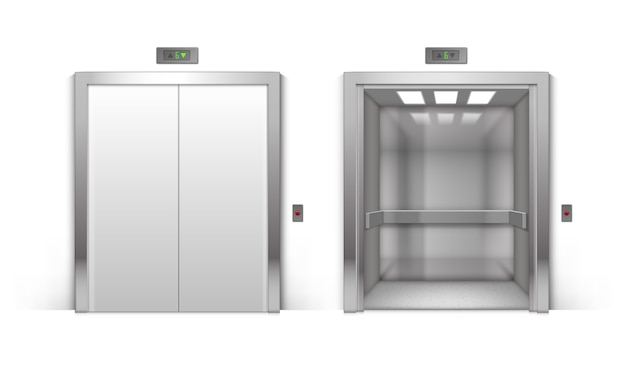 Realistic open and closed chrome metal office building elevator doors