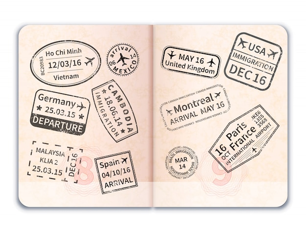 Realistic open foreign passport with black immigration stamps on white