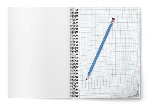 Реалистичный открытый horozontal спиральный блокнот и синий карандаш.