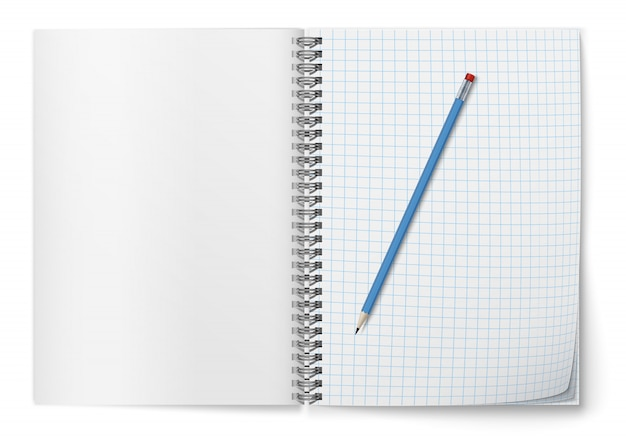 Realistic   open horozontal spiral notepad  and  blue pencil .