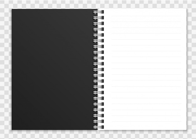 現実的な開いているノートブック。リングスパイラルバインドページとカバーイラスト付きのメモ帳またはコピーブック